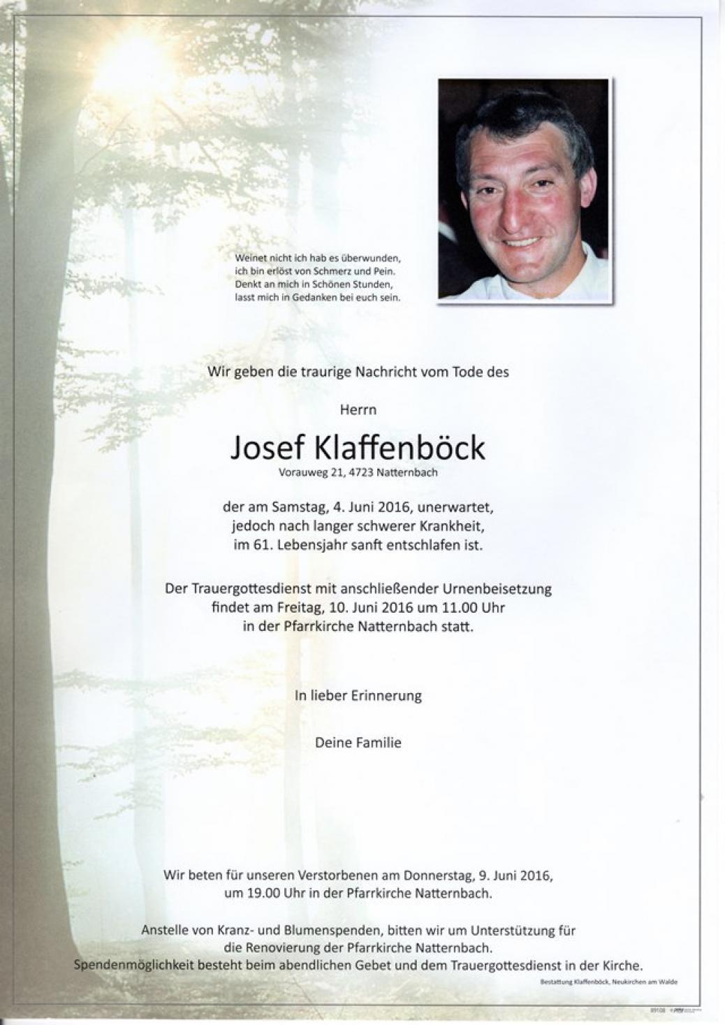 Josef Klaffenböck verstorben