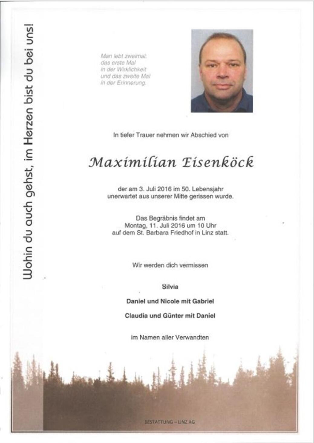 Maximilian Eisenköck verstorben