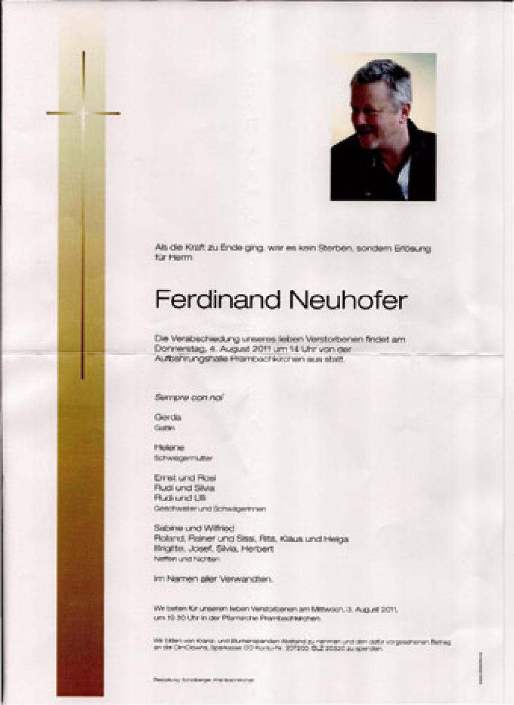 """Wir trauern um unser Mitglied """"Ferdinand Neuhofer"""""""