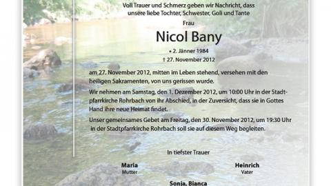 """Wir trauern um unser Mitglied """"Nicol Bany"""""""