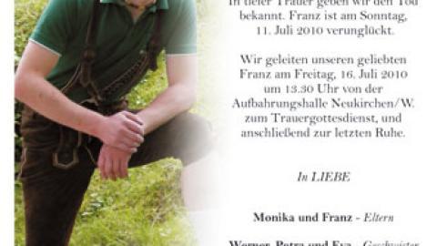 "Tragischer Badeunfall unseres Mitglieds ""Franzi Enzelsberger"""