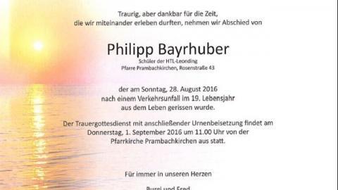 Wir trauern um unser Mitglied Philipp Bayrhuber