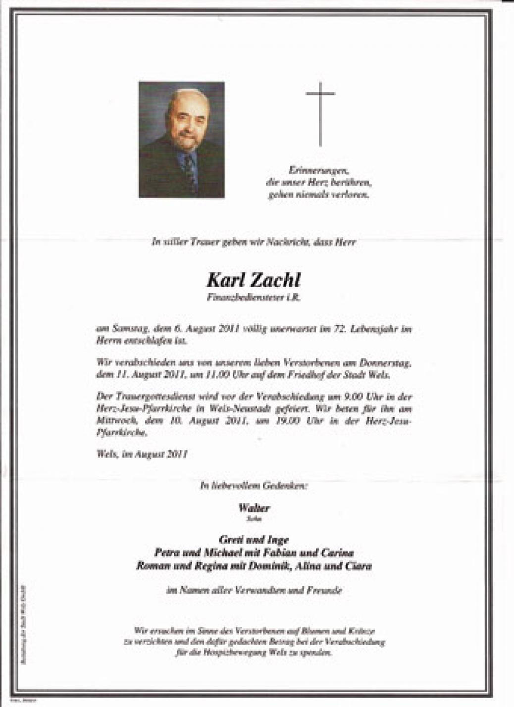 """Wir trauern um unser Mitglied """"Karl Zachl"""""""