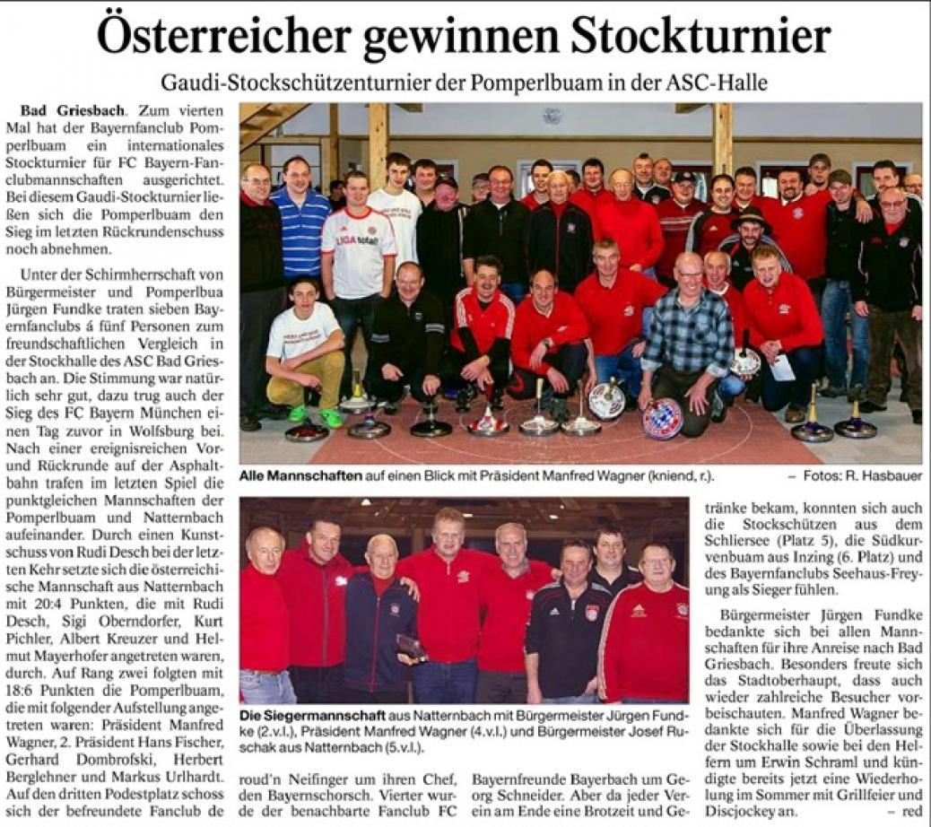 Zeitungsartikel Stockturnier
