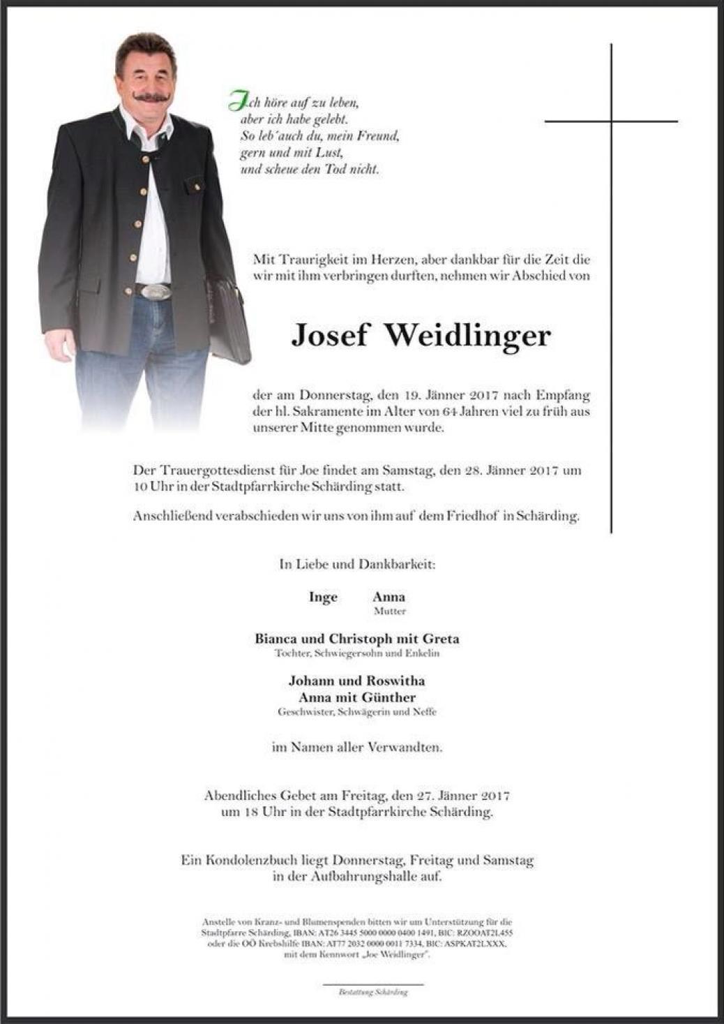 """Josef """"Joe"""" Weidlinger verstorben"""