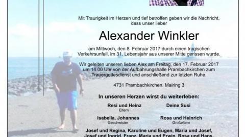Wir trauern um unser Mitglied Alexander Winkler
