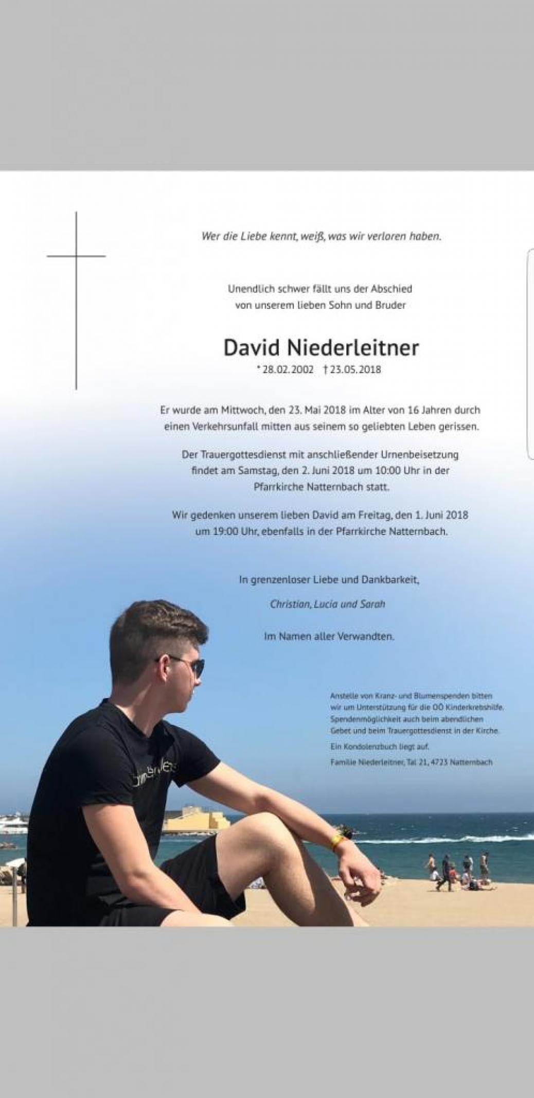 Wir trauern um unser Mitglied David Niederleitner