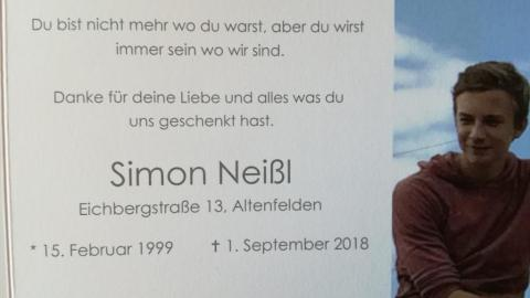 Wir trauern um unser Mitglied Simon Neißl